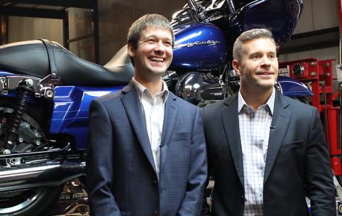 HomeTrust Bank Relationship Manager Christopher McFatter with Judd Reinhart