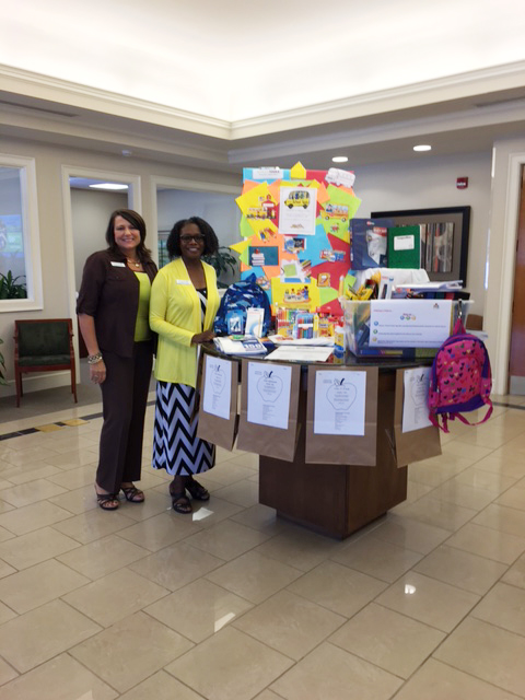 "HomeTrust Branch Manager, Lydia, and Sales and Service Associate, Cynthia, are excited to participate in the United Way's ""School Tools"" program again this year!"