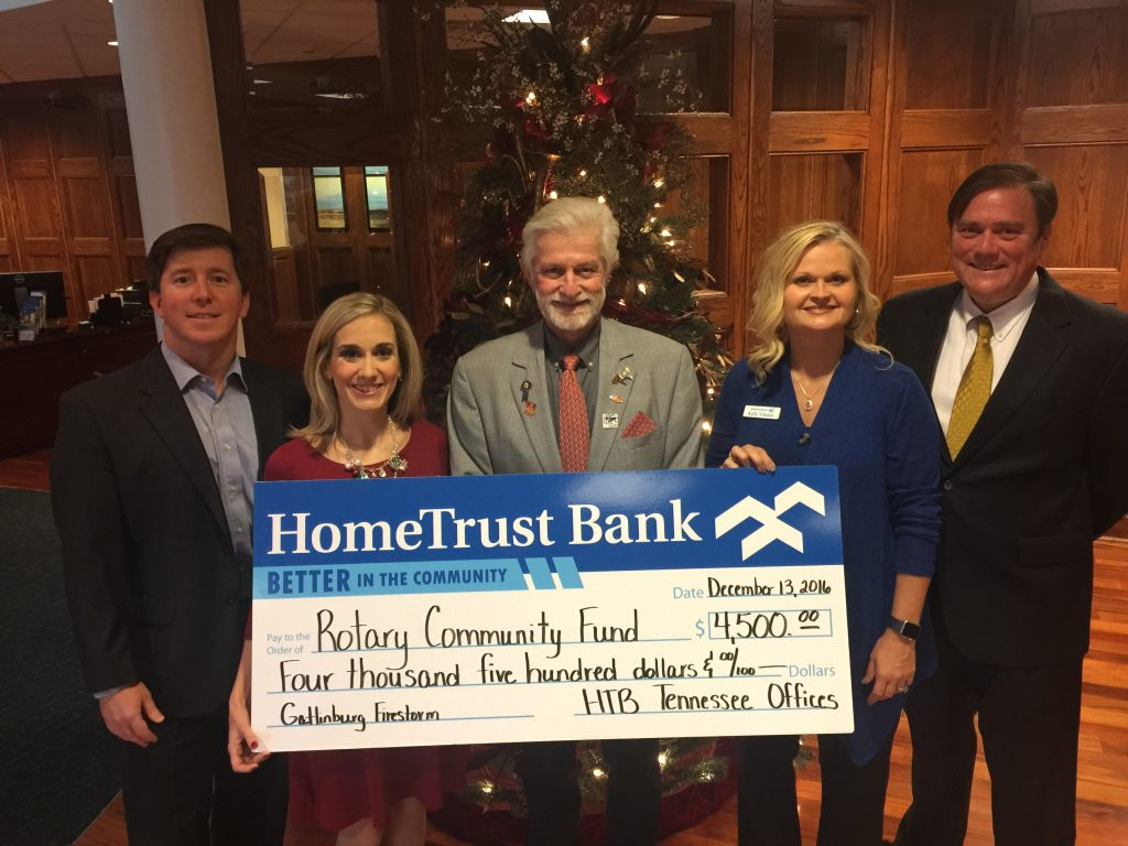 HTB donates large check to rotary
