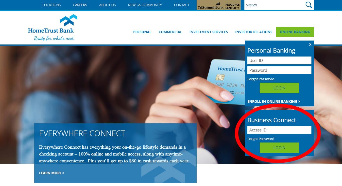 HomeTrust Bank Business Connect Login Box