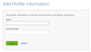Add profile information screen from online banking.