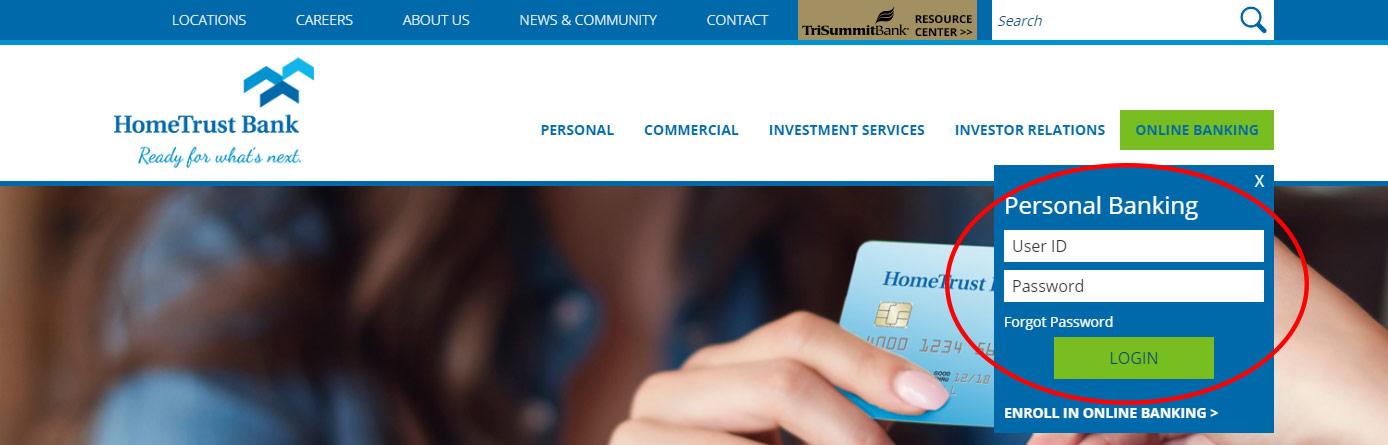 Image of the HomeTrust Bank website