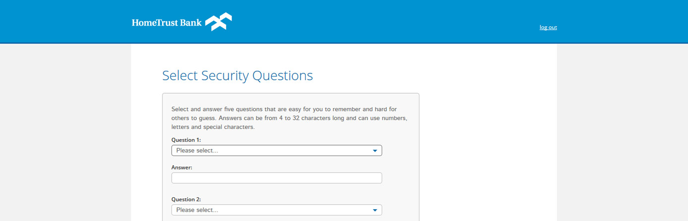 Screen capture of the security questions in Online Banking.