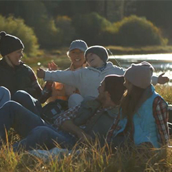 Family Camping Near a Lake