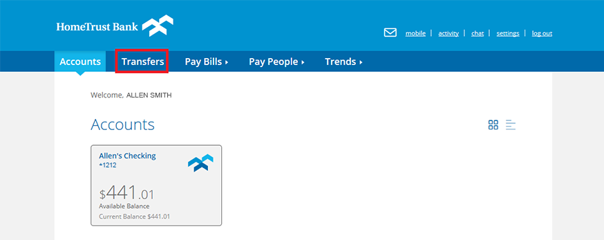 Location of the transfers option in online banking.