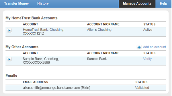 Account to be managed in online banking.