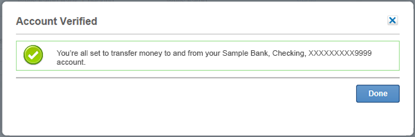 Screen showing verification of your external accounts.