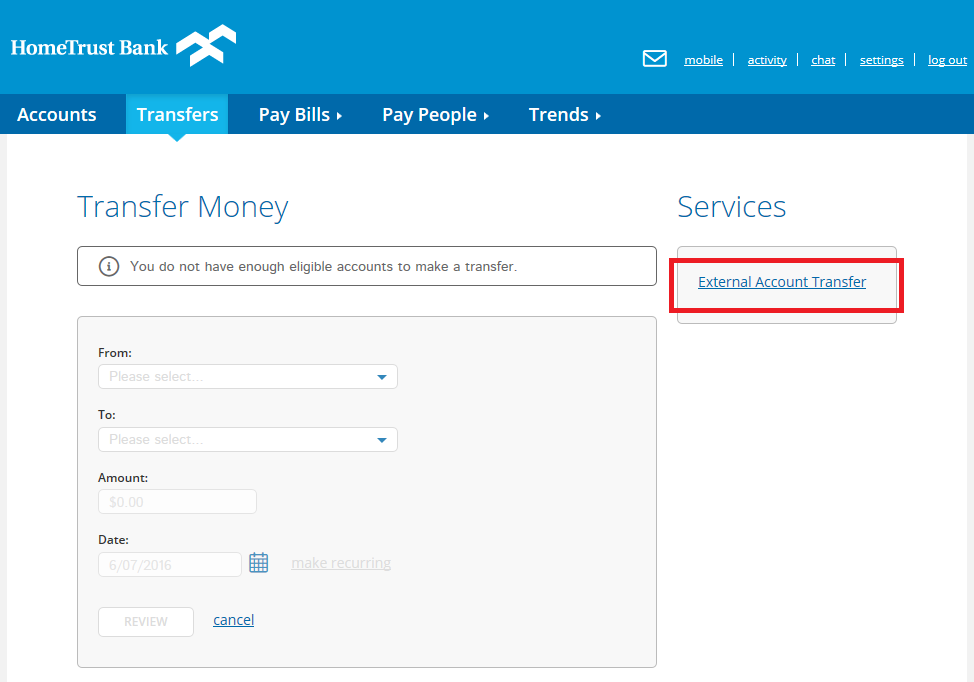 External transfers option in online banking.