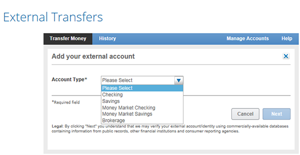 Account type selection.