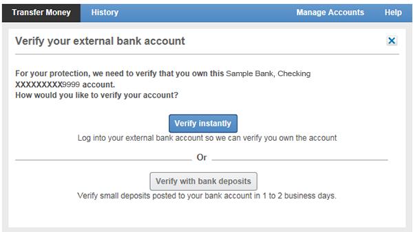 Verification options for external accounts.