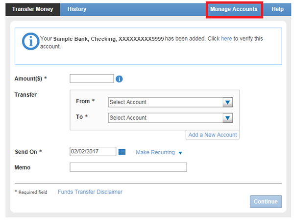 Option for manage accounts in online banking.