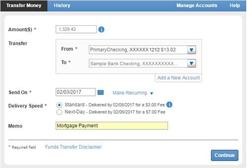 Transfer Money screen.