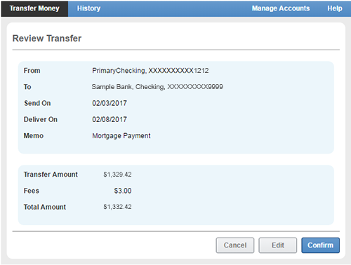Review transfer screen in online banking.
