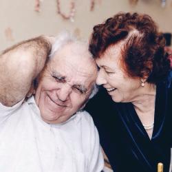 Senior couple laughing
