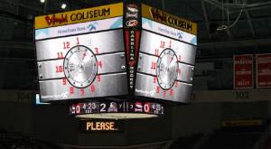Charlotte Checkers jumbo-tron with vault combination on it
