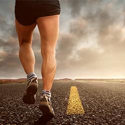 running on an open road
