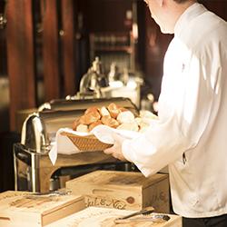 Chef preparing a buffet line